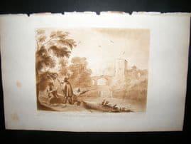 Richard Earlom & Claude Lorrain C1810 Hunting Mezzotint. Liber Veritatis 24