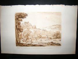 Richard Earlom & Claude Lorrain C1810 Landscape Mezzotint. Bathing Nudes 57