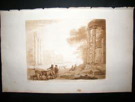 Richard Earlom & Claude Lorrain C1810 Landscape Mezzotint. Liber Veritatis 01
