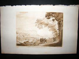 Richard Earlom & Claude Lorrain C1810 Landscape Mezzotint. Liber Veritatis 03
