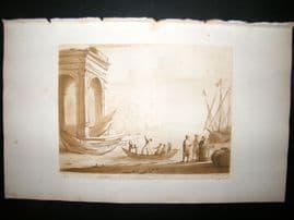 Richard Earlom & Claude Lorrain C1810 Landscape Mezzotint. Liber Veritatis 04