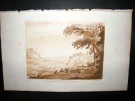 Richard Earlom & Claude Lorrain C1810 Landscape Mezzotint. Liber Veritatis 07