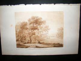Richard Earlom & Claude Lorrain C1810 Landscape Mezzotint. Liber Veritatis 08