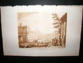 Richard Earlom & Claude Lorrain C1810 Landscape Mezzotint. Liber Veritatis 10
