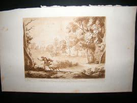 Richard Earlom & Claude Lorrain C1810 Landscape Mezzotint. Liber Veritatis 100