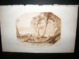 Richard Earlom & Claude Lorrain C1810 Landscape Mezzotint. Liber Veritatis 11