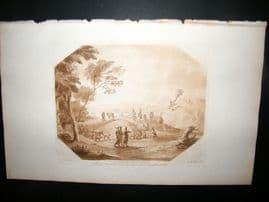 Richard Earlom & Claude Lorrain C1810 Landscape Mezzotint. Liber Veritatis 12