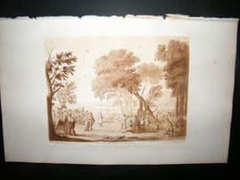 Richard Earlom & Claude Lorrain C1810 Landscape Mezzotint. Liber Veritatis 13