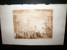 Richard Earlom & Claude Lorrain C1810 Landscape Mezzotint. Liber Veritatis 14