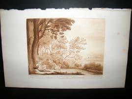 Richard Earlom & Claude Lorrain C1810 Landscape Mezzotint. Liber Veritatis 15