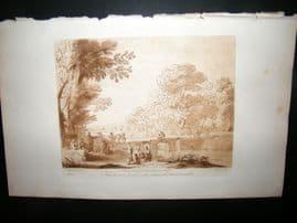 Richard Earlom & Claude Lorrain C1810 Landscape Mezzotint. Liber Veritatis 16