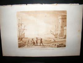 Richard Earlom & Claude Lorrain C1810 Landscape Mezzotint. Liber Veritatis 17