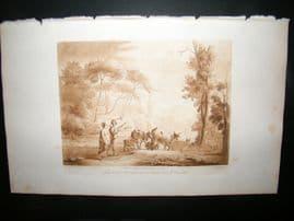 Richard Earlom & Claude Lorrain C1810 Landscape Mezzotint. Liber Veritatis 18