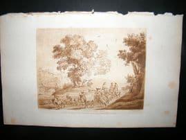 Richard Earlom & Claude Lorrain C1810 Landscape Mezzotint. Liber Veritatis 20