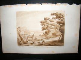 Richard Earlom & Claude Lorrain C1810 Landscape Mezzotint. Liber Veritatis 21