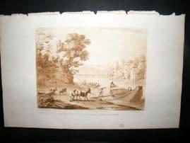 Richard Earlom & Claude Lorrain C1810 Landscape Mezzotint. Liber Veritatis 22