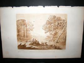 Richard Earlom & Claude Lorrain C1810 Landscape Mezzotint. Liber Veritatis 23