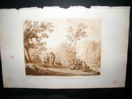 Richard Earlom & Claude Lorrain C1810 Landscape Mezzotint. Liber Veritatis 25