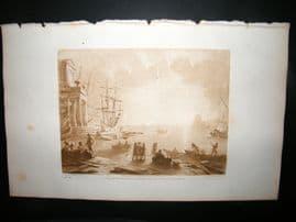 Richard Earlom & Claude Lorrain C1810 Landscape Mezzotint. Liber Veritatis 26