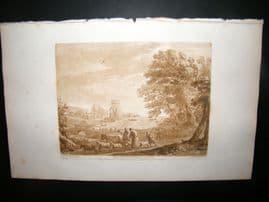 Richard Earlom & Claude Lorrain C1810 Landscape Mezzotint. Liber Veritatis 27
