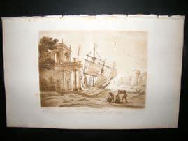 Richard Earlom & Claude Lorrain C1810 Landscape Mezzotint. Liber Veritatis 29