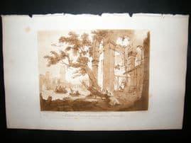 Richard Earlom & Claude Lorrain C1810 Landscape Mezzotint. Liber Veritatis 32