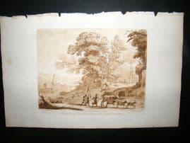 Richard Earlom & Claude Lorrain C1810 Landscape Mezzotint. Liber Veritatis 34
