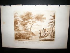 Richard Earlom & Claude Lorrain C1810 Landscape Mezzotint. Liber Veritatis 35