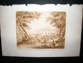 Richard Earlom & Claude Lorrain C1810 Landscape Mezzotint. Liber Veritatis 36