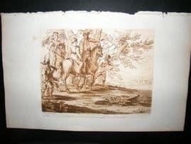 Richard Earlom & Claude Lorrain C1810 Landscape Mezzotint. Liber Veritatis 37