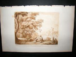 Richard Earlom & Claude Lorrain C1810 Landscape Mezzotint. Liber Veritatis 38