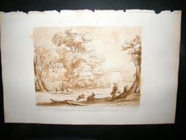 Richard Earlom & Claude Lorrain C1810 Landscape Mezzotint. Liber Veritatis 39