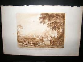 Richard Earlom & Claude Lorrain C1810 Landscape Mezzotint. Liber Veritatis 40
