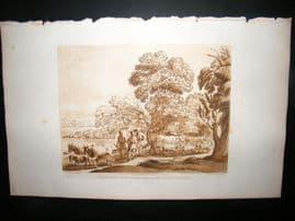 Richard Earlom & Claude Lorrain C1810 Landscape Mezzotint. Liber Veritatis 41