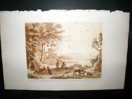 Richard Earlom & Claude Lorrain C1810 Landscape Mezzotint. Liber Veritatis 42