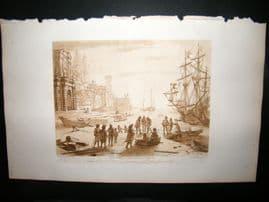 Richard Earlom & Claude Lorrain C1810 Landscape Mezzotint. Liber Veritatis 43