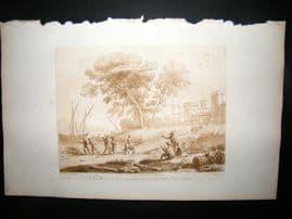 Richard Earlom & Claude Lorrain C1810 Landscape Mezzotint. Liber Veritatis 44