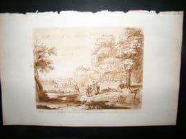 Richard Earlom & Claude Lorrain C1810 Landscape Mezzotint. Liber Veritatis 45