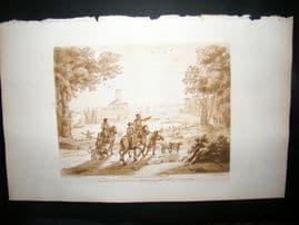 Richard Earlom & Claude Lorrain C1810 Landscape Mezzotint. Liber Veritatis 46