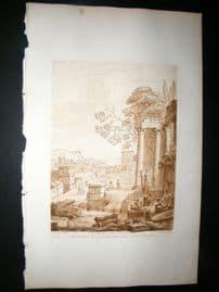 Richard Earlom & Claude Lorrain C1810 Landscape Mezzotint. Liber Veritatis 48