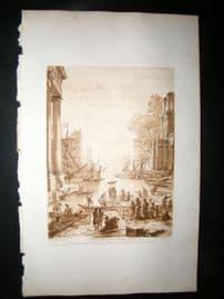 Richard Earlom & Claude Lorrain C1810 Landscape Mezzotint. Liber Veritatis 49