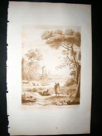 Richard Earlom & Claude Lorrain C1810 Landscape Mezzotint. Liber Veritatis 50