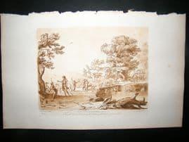 Richard Earlom & Claude Lorrain C1810 Landscape Mezzotint. Liber Veritatis 52