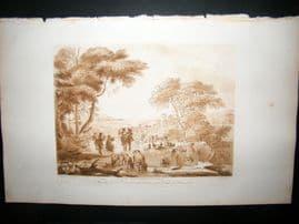 Richard Earlom & Claude Lorrain C1810 Landscape Mezzotint. Liber Veritatis 53