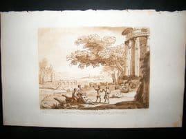 Richard Earlom & Claude Lorrain C1810 Landscape Mezzotint. Liber Veritatis 55