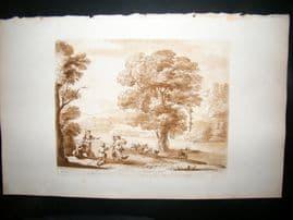 Richard Earlom & Claude Lorrain C1810 Landscape Mezzotint. Liber Veritatis 56