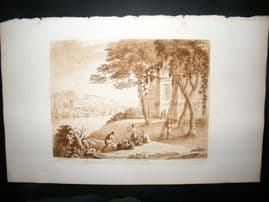Richard Earlom & Claude Lorrain C1810 Landscape Mezzotint. Liber Veritatis 58