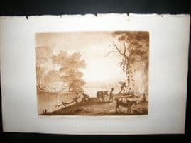 Richard Earlom & Claude Lorrain C1810 Landscape Mezzotint. Liber Veritatis 59