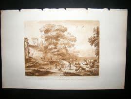Richard Earlom & Claude Lorrain C1810 Landscape Mezzotint. Liber Veritatis 60
