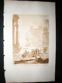 Richard Earlom & Claude Lorrain C1810 Landscape Mezzotint. Liber Veritatis 61
